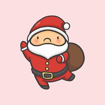 Kerstman en plundering van geschenken kerst de hand getekende cartoon stijl