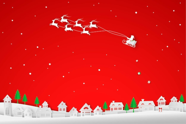 Kerstman en rendieren komen naar de stad met cadeaupapier, papierkunst en ambachtelijk ontwerp voor de winter