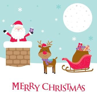 Kerstman en rendieren op het dak en de schoorsteen