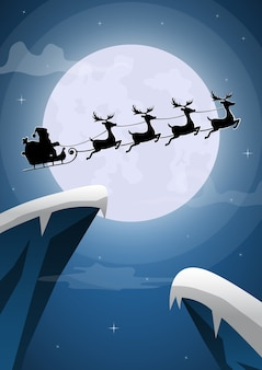 Kerstman en rendieren slee vliegen met de volle maan op kerstavond