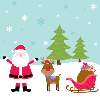 Kerstman en rendieren vector ontwerp