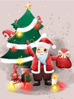 Kerstman en schattige elf grootste geschenk kerstavond zegeningen.