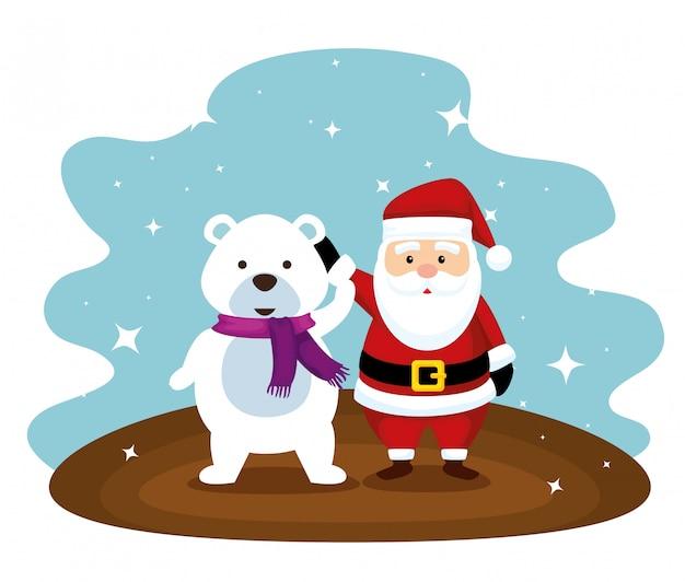 Kerstman en sneeuw dragen met sjaal