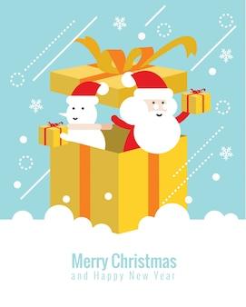 Kerstman en sneeuwpop in de doos. kerstmis en gelukkig nieuwjaarconcept. vlakke dunne lijnontwerpelementen. vector illustratie
