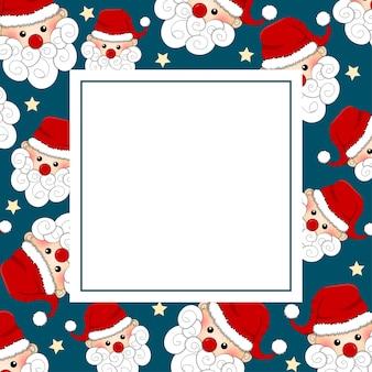 Kerstman en ster op blauwe bannerkaart