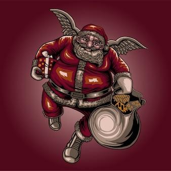 Kerstman en vleugel van engel