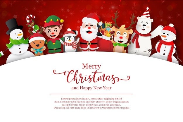 Kerstman en vrienden op kerst briefkaart