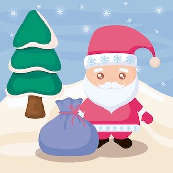 Kerstman en winterlandschap