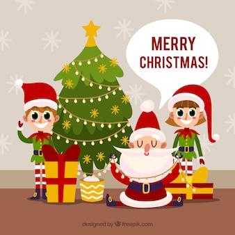 Kerstman en zijn elfjes