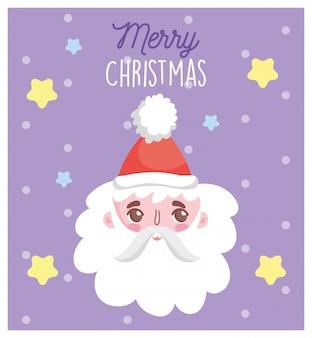Kerstman gezicht en sneeuw vrolijk kerstkaart