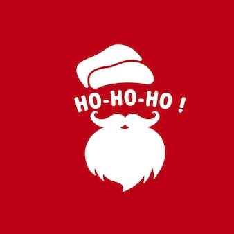 Kerstman gezicht met baard en hoed illustratie of ho-ho-ho. kerstmis en nieuwjaar