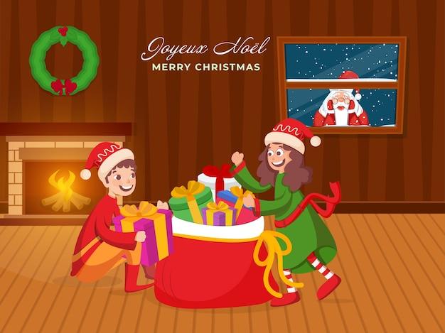 Kerstman gluren door raam met vrolijke kinderen karakter Premium Vector