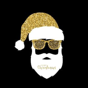 Kerstman goud glittereffect