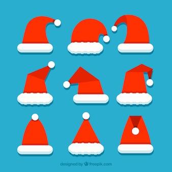 Kerstman hoed collectie in plat ontwerp