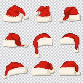 Kerstman hoed ingesteld op een transparante achtergrond. cartoon iconen van kerst decoratieve elementen.