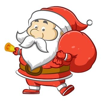 Kerstman houdt een grote zak met cadeau en houdt een belletje vast