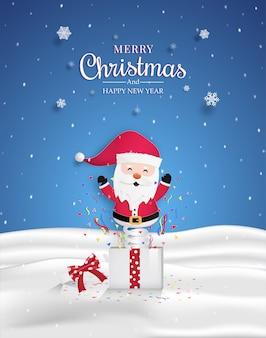 Kerstman in de geschenkdoos. en festivals voor kerstmis. en nieuwjaarsvieringen. Premium Vector