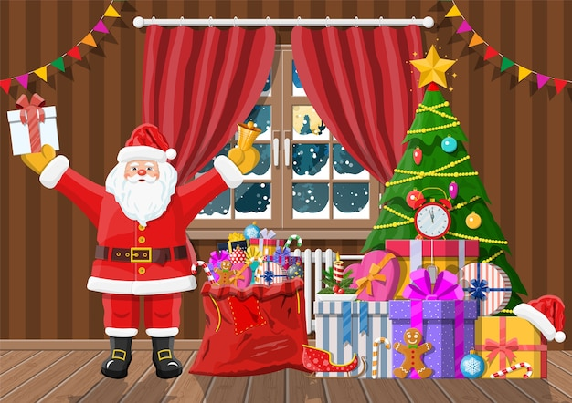 Kerstman in de kamer met kerstboom en geschenken. vrolijke kersttafereel