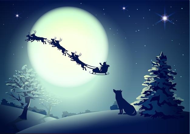 Kerstman in de nachtelijke hemel tegen de achtergrond van de volle maan.