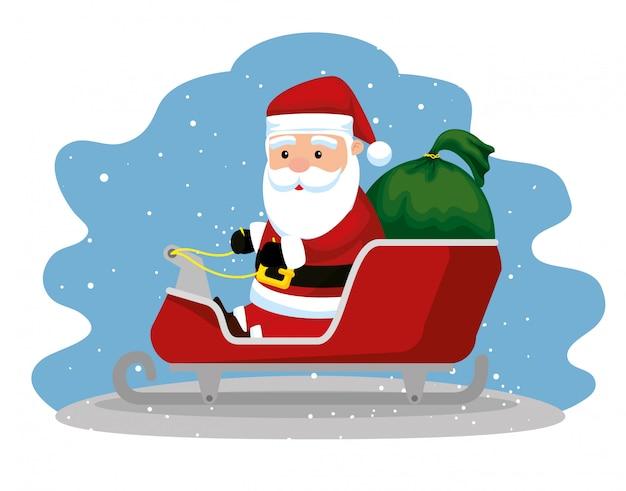 Kerstman in de slee met kerstcadeaus
