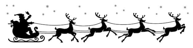Kerstman in een slee met rendieren silhouet. zwarte vector silhouet geïsoleerd op een witte achtergrond.