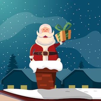 Kerstman in schoorsteen grappige illustratie