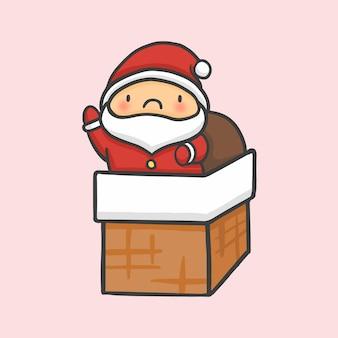 Kerstman in schoorsteen kerst de hand getekende cartoon stijl vector