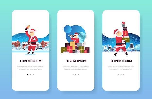 Kerstman kaarten webpagina's vrolijk kerstfeest vakantie feest mobiele app scherm set illustratie