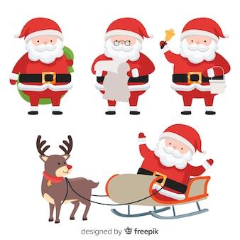 Kerstman karakter collectie in platte ontwerp