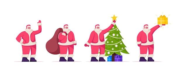 Kerstman karakter in rood kostuum en hoed staande op witte achtergrond met feestelijke attributen kerstboom, zak met geschenken en heden. nieuwjaar seizoen groet cartoon platte vectorillustratie