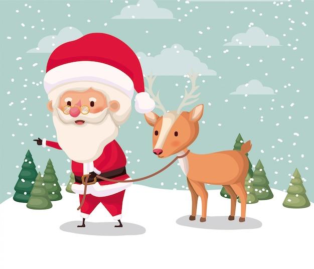 Kerstman karakter met rendieren in snowscape