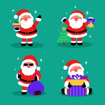 Kerstman karaktercollectie in plat ontwerp