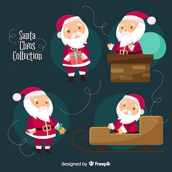 Kerstman karakters collectie in platte ontwerp
