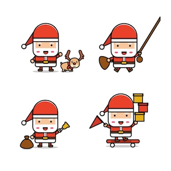 Kerstman kawaii-collectie Premium Vector