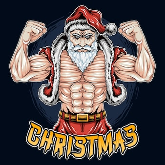 Kerstman kerst gym spier bodybuilding
