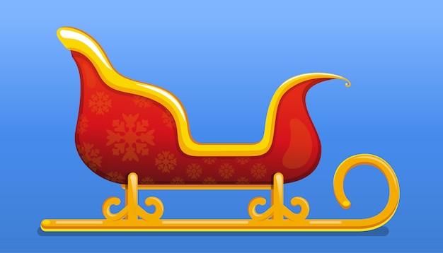 Kerstman kerst slee. vlakke stijl rood en goudkleurige kerstman slee. kerst pictogram.