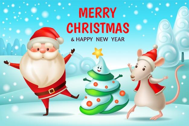 Kerstman, kerstboom, rat. nieuwjaarskaart.