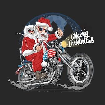 Kerstman kerstmis vs amerika tour biker motorfiets, motor, cooper illustratie