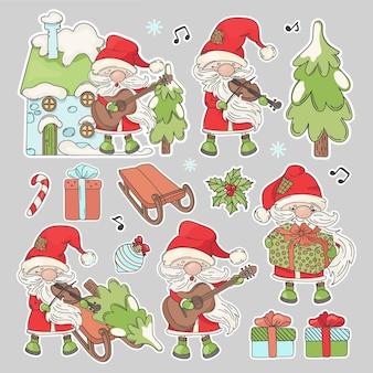 Kerstman kerststickers cartoon santa claus met muziekinstrumenten en nieuwjaar attributen afdrukbare en plotter snijden clipart vector illustratie set