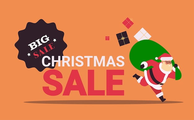 Kerstman loopt met grote zak geschenkdozen banner kerst verkoop