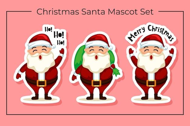 Kerstman mascotte karakterset