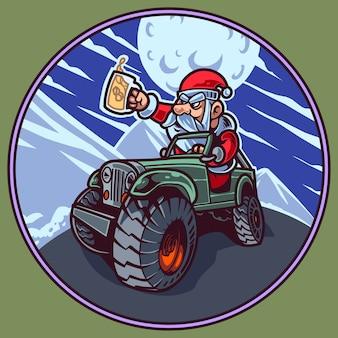 Kerstman mascotte logo