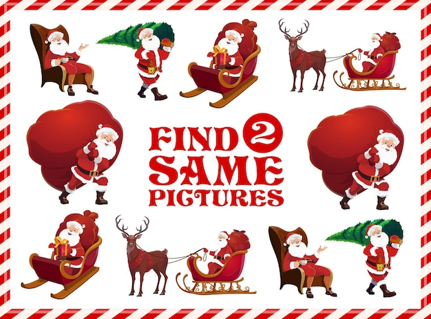 Kerstman memory spel of puzzel, tekenfilm