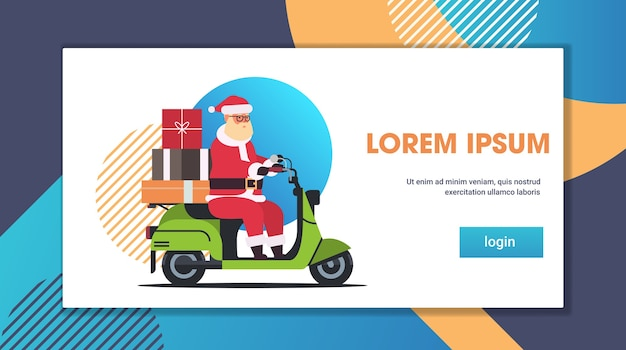 Kerstman met cadeau huidige dozen rijden levering scooter vrolijk kerstfeest wintervakantie viering concept volledige lengte horizontale platte kopie ruimte vectorillustratie