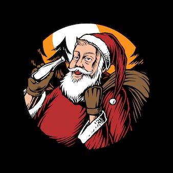 Kerstman met een cadeau-illustratie