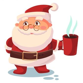 Kerstman met een kopje koffie illustratie