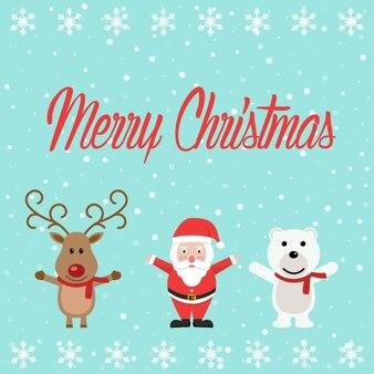 Kerstman met een rendier en een beer