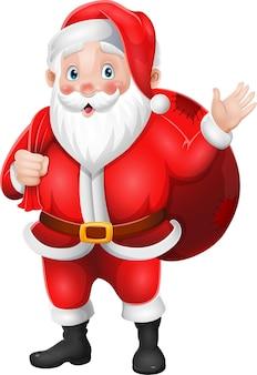 Kerstman met een zak cadeautjes zwaaiende hand Premium Vector