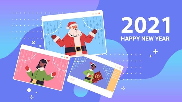 Kerstman met elfjes in web browservensters gelukkig nieuwjaar vrolijk kerstfeest vakantie viering concept zelfisolatie online communicatie portret horizontale vectorillustratie