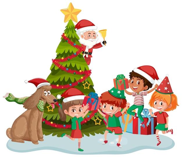 Kerstman met gelukkige kinderen en kerstboom